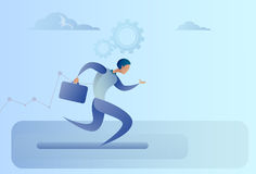 Business Man Run Team Leader Competition Concept. Flat Vector Illustration Stock Photography
