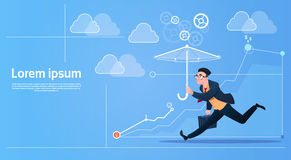 Business Man Run With Umbrella Security Concept. Flat Vector Illustration Royalty Free Stock Photo