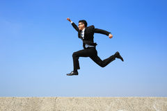 Business man running royalty free stock images