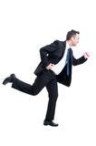 Business man running. Busy business man running isolated on white background Royalty Free Stock Photos