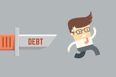 Business man running from debt, Royalty Free Stock Photo
