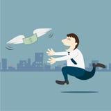 Business man running follow the money Stock Photography
