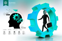 Business man running in gear wheels Royalty Free Stock Photo