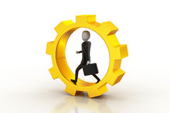 Business man running in gear wheels Royalty Free Stock Images