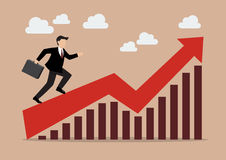 Business man running on growing graph Royalty Free Stock Images