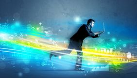 Business man running in high tech wave concept Royalty Free Stock Photography