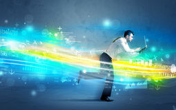 Business man running in high tech wave concept Stock Photos
