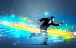 Business man running in high tech wave concept Royalty Free Stock Images