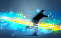 Business man running in high tech wave concept. Business man running with device in high tech wave cloud concept on background Royalty Free Stock Image