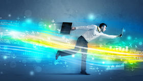 Business man running in high tech wave concept Stock Photo