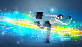 Business man running in high tech wave concept Royalty Free Stock Image