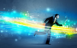 Business man running in high tech wave concept Stock Image