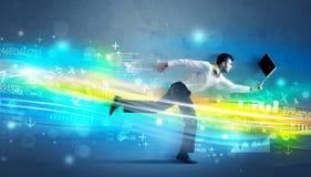 Business man running in high tech wave concept Stock Photos