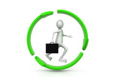 Business man  running inside the recycle symbol Stock Photo