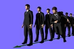 Business man running while others standing. 3D illustration, business man running while others standing Stock Image