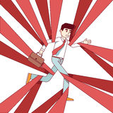 Business man running and overcoming in red tape Royalty Free Stock Photo