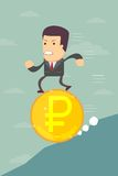 Business man running on a ruble coin Royalty Free Stock Photo