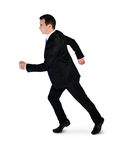 Business man running side. Isolated business man running side Stock Photos