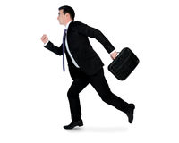 Business man running side. Isolated business man running side Stock Image