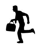 Business Man running - silhouette Royalty Free Stock Photos