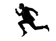 Business man running silhouette Stock Photography