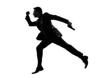 Business man running silhouette Stock Photo