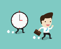 Business man running with time in flat design Royalty Free Stock Images