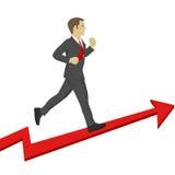Business man running up a success arrow. Business growth concept. Stock Image