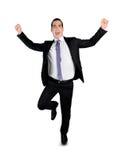 Business man running winner. Isolated business man running winner Stock Images