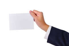 Business man's hand and a card Stock Images