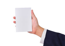 Business man's hand and a card Stock Photos