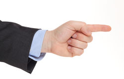 Business man's hand pointing right. Isolated on white Royalty Free Stock Photos
