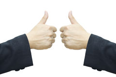 Business man 's hand ,two thumb up Stock Photography
