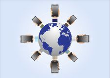 Business man`s hands holding smartphone around world Royalty Free Stock Photo