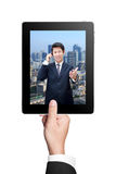 Business Man's hands holding a tablet Royalty Free Stock Images