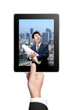 Business Man's hands holding a tablet Stock Photography