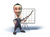 Business man's success. 3D business man showing charts, 3D generated with lightwave Royalty Free Stock Images