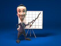 Business man's success. 3D business man showing charts, 3D generated with lightwave Royalty Free Stock Photos