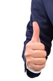 Business man's thumb up hand sign Stock Photos