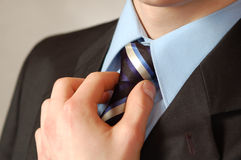 Business man's tie and hand Stock Photography