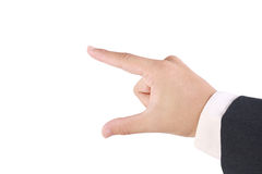 Business man's use his finger to hold somthing Stock Photography