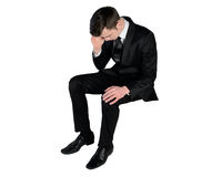 Business man sad looking down Royalty Free Stock Photos