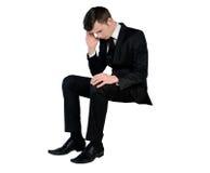 Business man sad looking down Stock Photos