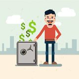 Business Man With Safe Money Security Concept. Flat Vector Illustration Royalty Free Stock Images