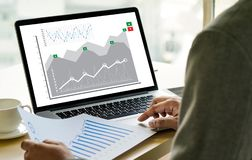 Business Man Sales Increase Revenue Shares and Customer Marketing Sales Dashboard Graphics Concept royalty free stock photos