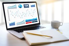 Business Man Sales Increase Revenue Shares and Customer Marketing Sales Dashboard Graphics Concept stock image
