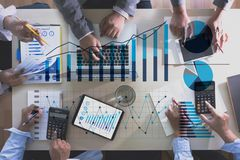 Business Man Sales Increase Revenue Shares and Customer Marketing Sales Dashboard Graphics Concept royalty free stock photo
