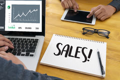 Business Man Sales Increase Revenue Shares and Customer Marketin Stock Photos