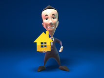 Business man sales real estate. Business man holding a golden house, 3D generated Stock Photos