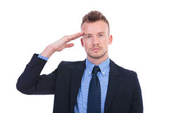 Business man salutes you Stock Photo